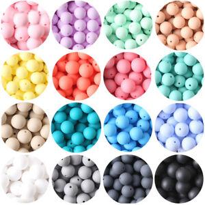 15mm Round BPA Free Mix Silicone Soft Beads DIY Keyring Bracelet Jewelry Making