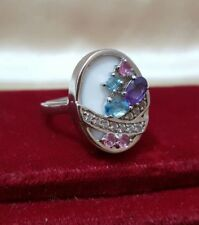 GEMPORIA/GEMS TV STERLING SILVER COCKTAIL RING, TOPAZ, AMETHYST, SIZE Q
