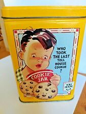 Nestle Toll House Cookies Collector Yellow Metal Tin ~ Vintage Scenes & Recipe!