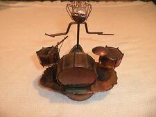 Vintage Copper Drummer Rotating Musical Figurine by Sankyo