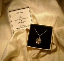 First Holy Communion gift solid silver St Christopher Personalized box boy/girl