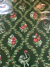 Vintage 1930-50's Wallpaper Green GLOSS Diamond Pattern W Rooster Double Roll