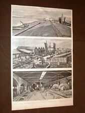 Rare vedute di Sesto Calende del 1882 Ponte sul Ticino Officina Castellammare