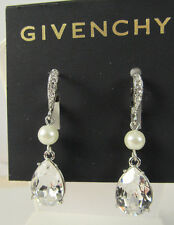 Givenchy Silver Tone Clear Tear Crystal & White Pearl Double Drop Earrings