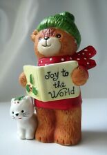 Lucy & Me Christmas Caroling Bear W/ White Cat Lucy Rigg 1979 - Cute Rigglets