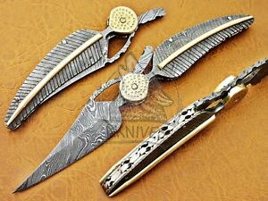 BEAUTIFUL CUSTOM MADE LEAF FOLDING KNIFE.(TWIST)FULL TANG DAMASCUS STEEL A.k-22