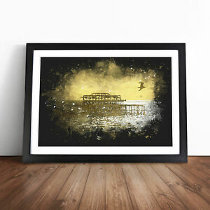 Brighton West Pier At Sunset Paint Splash Wall Art Framed Print Picture