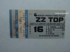 Zz Top 1982 Concert Ticket Stub Seattle Center Coliseum Rare El Loco Motion Tour