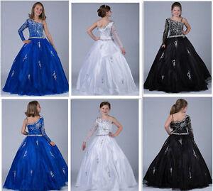 White Blue Black Girl kids one shoulder Pageant Prom Princess Flower Girl Dress