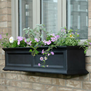 Plastic Window Plant Box 11 inch x 48 in Outdoor Garden Patio Flower Pot Black