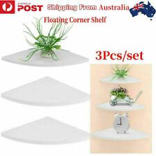 3pcs Floating Corner Shelf Wall-mounted Storage Rack Home Office Decor White AU