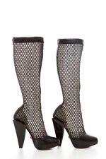Versace Cuero Malla Recortado la rodilla Botas altas > > > £ 900+ Original Bn > 5uk > 38 > > Raro Tejida