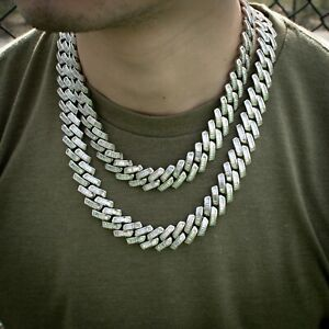 Diamond Baguette Cuban Link Chain Choker Necklace 18k White Gold Real Icy Out