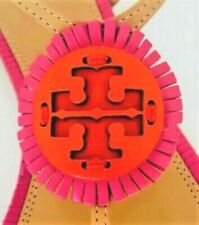 New Tory Burch MILLER FRINGE Sandal Dusty Cypress Hibiscus Flower Samba 7 7.5 8