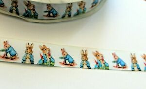 Cute Peter Rabbit  Ribbon in White, 25mm (1 metre),ideal for bows,cakes & crafts