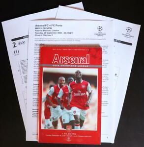 Arsenal FC V FC Porto MINT Programme + Info Pack UEFA Champions League 26-09-06