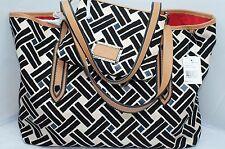 New DVF Diane Von Furstenberg Tote Bag Black Shoulder Handbag Leni Canvas