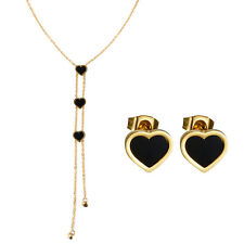 Women Stainless Steel Love Heart Earrings Pendant Necklace Long Chain Choker Set