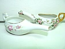 PAIR Small Floral Flower Design Invalid Infant Feeders GERMANY Porcelain
