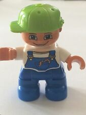 *NEW* Lego DUPLO BOY Blue Legs White Top Blue Overall Lime Cap Worms in Pocket
