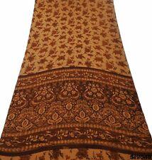 Indisch Vintage Sari Braun Seide Mischung Blumen Saree 5 Yd DIY Gebraucht SI9049