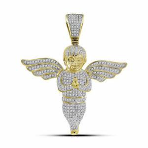 10kt Gelbgold Herren Rund Diamant Engel Charm Anhänger 1-1/2 Cttw