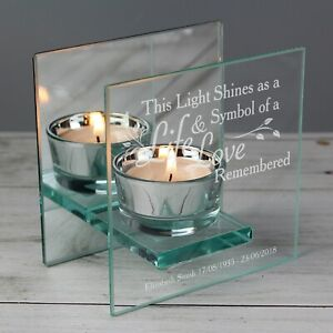 Personalised Life & Love Mirrored Glass Tea Light Candle Holder Loving Memory