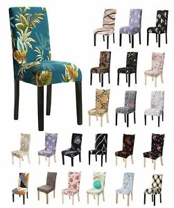 Floral Stretch Dining Chair Wedding Banquet Seat Cover Removable Cover Slipcover