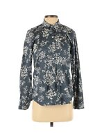 Gap Women's Button Front Blouse Top Size Small Gray White Floral Long Sleeves