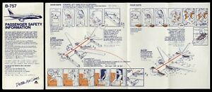 1988 DELTA AIRLINES Boeing B-757 SAFETY CARD