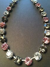 Classic Necklace Choker Black Diamond Rose W/ Swarovski Crystals Hematite Chain