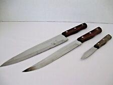 "MAXAM KNIVES 3 Piece Set 9"" Chef 8"" Carving 3"" Paring Wood Handle Full Tang"