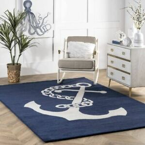Nautical Anchor Navy Blue Hand-Tufted 100% Wool Soft Area Rug Carpet
