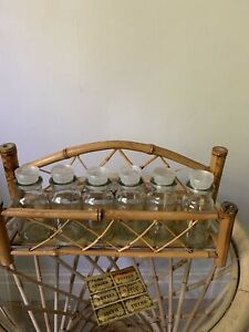 Vintage Boho Bamboo Spice Rack & 6 Glass Bottles Kitchen Storage Unused.