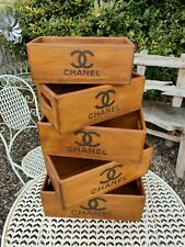 Chanel Vintage Style Set Of 5 Wooden Waxed Boxes