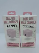 NEW 2 Dual USB Wall Chargers 3.1 AMP ~ Pink