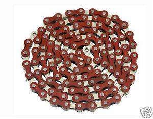 "YBN Bicycle Chain 1/2"" x 1/8""x 112 Links Red & Chrome BMX Lowrider Bikes 123148"
