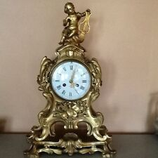 French Gold Plated Bronze Mantel Clock, Vincenti & Cie Medaille D' Argent Wking