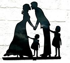 Our stunning silhouette Bride & Groom 2 girls Wedding cake Toppers