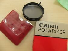 Vintage  Canon POLARIZER filter  55mm  with 52mm to 55mm adapter ring. Boxed