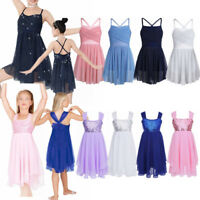 Girls Kids Ballet Dance Leotard Dress Dancewear Gymnastics Performing Costumes