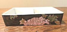 Fitz & Floyd Vtg Cloisonne Peony Black Porc Double Deck Card Box No Lid No Cards
