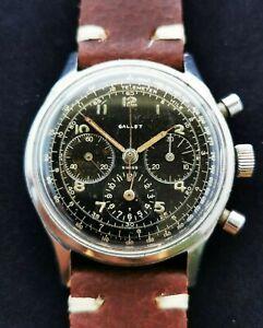 Gallet Chronograph Ep 40 Multichron 12 Vintage Men's Swiss Wristwatch