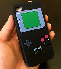 For iPhone 4 4S - SOFT SILICONE RUBBER TPU SKIN CASE COVER BLACK GAMEBOY PLAYER