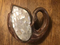 Carved Wood Swan Embelished With Brass Metal Trim And Mother Of Pearl