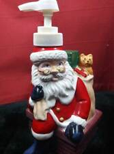 Vintage Ceramic Santa Holiday Xmas Lotion Soap Dispenser Bottle Bathroom Kitchen