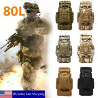 80L Tactical Outdoor Military Rucksacks Backpack Travel Camping Hiking Bag Pouch