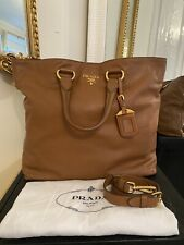 100% AUTHENTIC Prada Brown Calf Leather Tote Shoulder Crossbody Handbag RRP £990