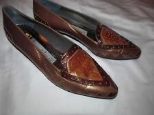 MARGARET GERROLD metallic bronze brown geometric studded loafers shoes 8.5 M