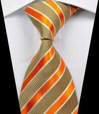 New Classic rayures or blanc Jacquard Tissé 100% Soie Hommes Cravate Cravate